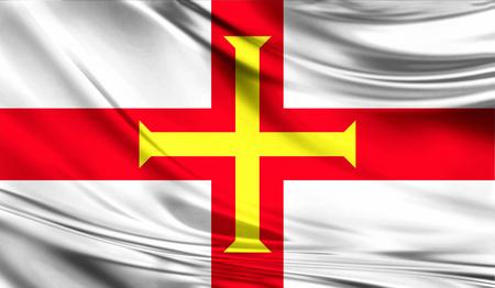 Flag of Guernsey, 3D illustration.