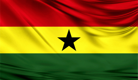 Flag of Ghana, 3D illustration. Stock Photo