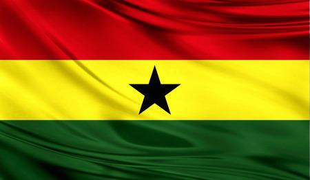 Flag of Ghana, 3D illustration. Stock fotó