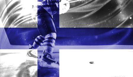 hockey goal: flag of Finland, hockey championship
