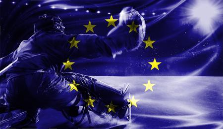 hockey goal: flag of European Union, hockey championship Stock Photo