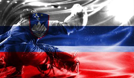 hockey goal: flag of Slovenia, hockey championship Stock Photo