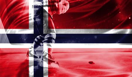 hockey goal: flag of Norway, hockey championship Stock Photo