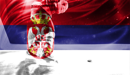 hockey goal: flag of Serbia, hockey championship