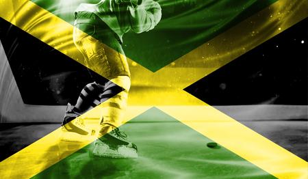 british culture: flag of Jamaica, hockey championship Stock Photo