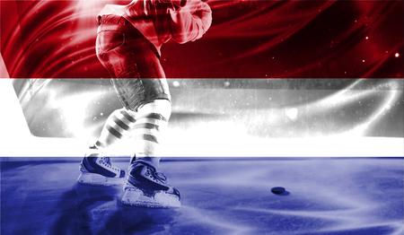 hockey goal: flag of Netherlands, hockey championship Stock Photo