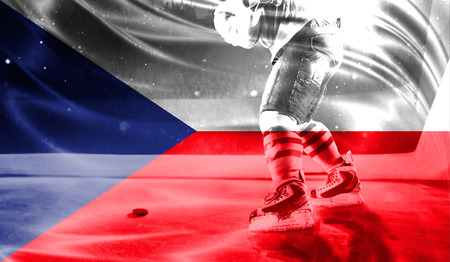 flag of Czech Republic, hockey championship Stok Fotoğraf