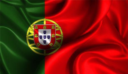 ファブリックの波状の表面でポルトガルの現実的なフラグは。デザインでこのフラグを使用することができます。 写真素材