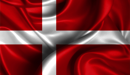 antarctica: Realistic flag of Denmark on the wavy surface of fabric. This flag can be used in design