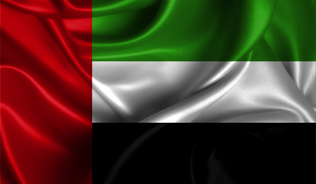 Realistic flag of United Arab Emirates on the wavy surface of fabric. This flag can be used in design
