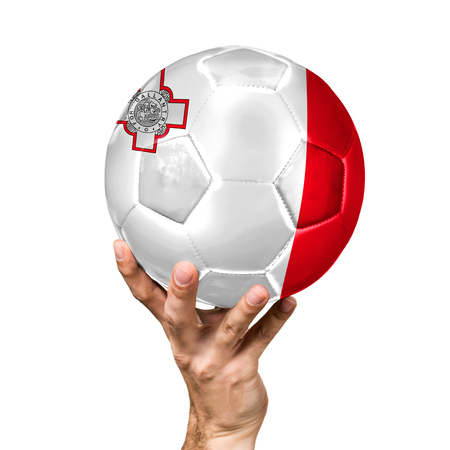 soccer ball with the image of the flag of malta, ball isolated on white background.