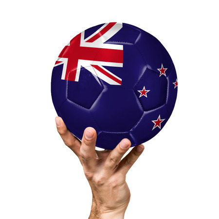 soccer ball with the image of the flag of New Zealand, ball isolated on white background.