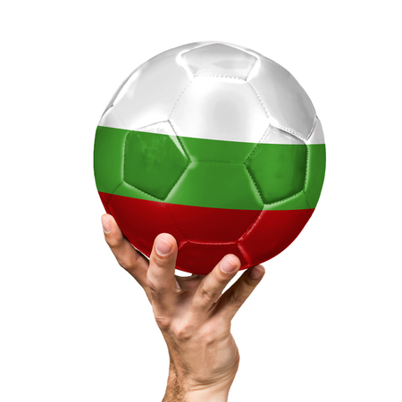 soccer ball with the image of the flag of Bulgaria, ball isolated on white background.