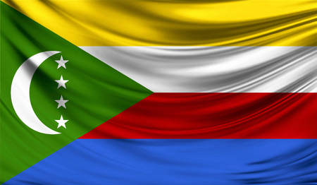 Flag of Comoros,3D illustration.