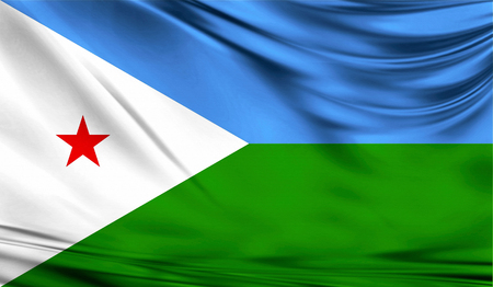 Flag of Djibouti, 3D illustration.