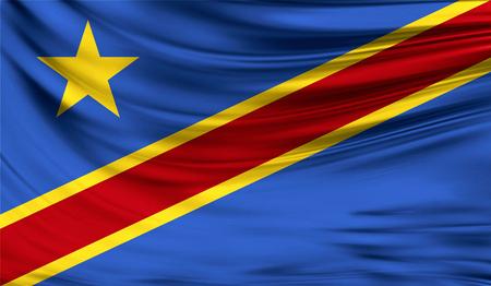Flag of Congo Democratic,3D illustration.