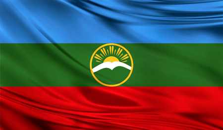 Vlag van Karachay Cherkessia, 3D illustratie.