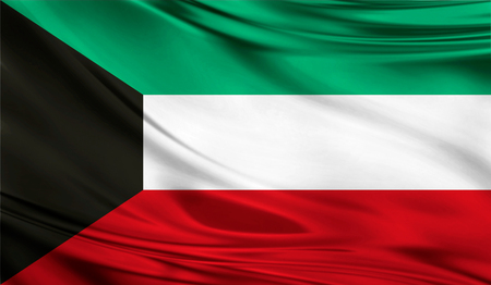 Flag of Kuwait, 3D illustration.