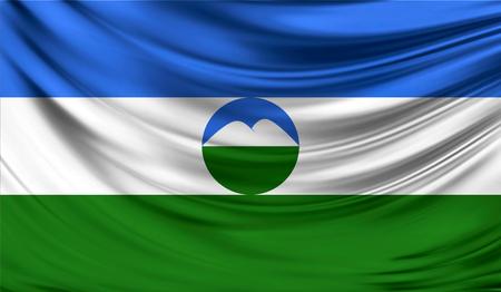 Vlag van Kabardië-Balkarië, 3D illustratie. Stockfoto