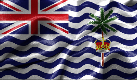british culture: Realistic flag of British Territory in the Indian Ocean on the wavy surface of fabric. This flag can be used in design