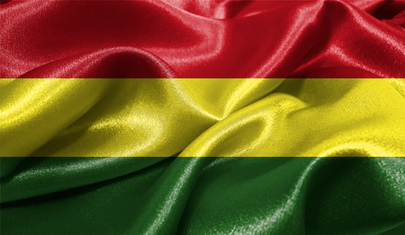 Realistic flag of Bolivia on the wavy surface of fabric. This flag can be used in design Imagens