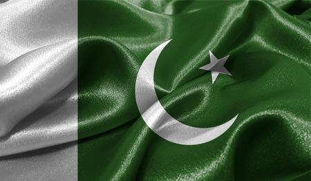 Realistische vlag van Pakistan op het golvende oppervlak van stof. Deze vlag kan in ontwerp worden gebruikt Stockfoto