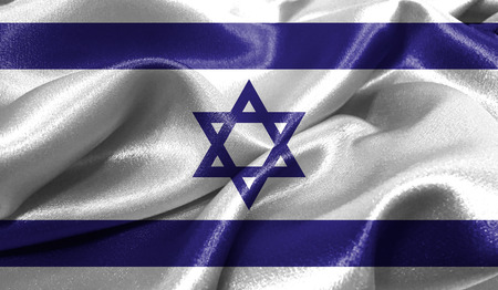 jewish star: Realistic flag of Israel on the wavy surface of fabric. This flag can be used in design
