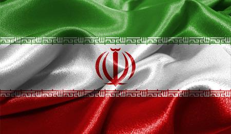 ファブリックの波状の表面でイランの現実的なフラグは。デザインでこのフラグを使用することができます。