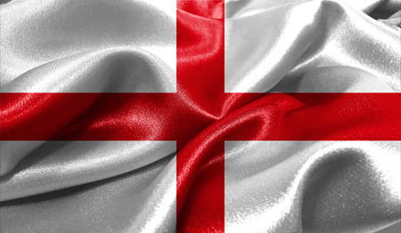 british culture: Realistic flag of England on the wavy surface of fabric. This flag can be used in design