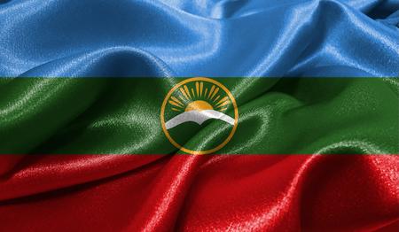 Realistische vlag van Karachay Cherkessia op het golvende oppervlak van stof. Deze vlag kan worden gebruikt in ontwerp