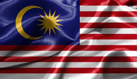 ファブリックの波状の表面でマレーシアの現実的なフラグは。デザインでこのフラグを使用することができます。