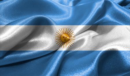 ファブリックの波状の表面でアルゼンチンの現実的なフラグは。デザインでこのフラグを使用することができます。