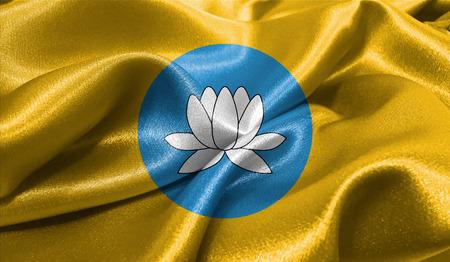 Realistische vlag van Kalmukkië op het golvende oppervlak van de stof. Deze vlag kan worden gebruikt in ontwerp