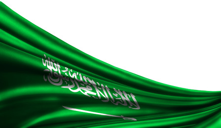 Grunge colorfu flag Saudi Arabia fabric silks with copyspace for your text or images, white background 3D illustration cloths. Closeup, fluttering downwind