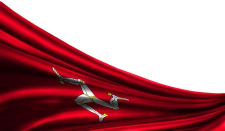 Grunge colorfu Flagge Isle Of Man-Gewebe seiden mit copyspace für Ihren Text oder Bilder, weiße Illustrationstücher des Hintergrundes 3D. Nahaufnahme, flatternden Wind