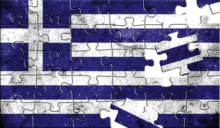 Flag of Greece,realistic puzzle effect. 3D illustration.