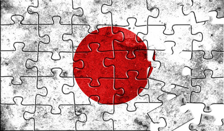 Flag of Japan,realistic puzzle effect. 3D illustration.