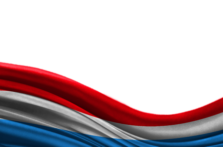 Grunge colorful flag Luxembourg with copyspace for your text or images,isolated on white background. Close up, fluttering downwind.