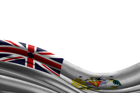 Grunge colorful flag British Antarctic Territory with copyspace for your text or images,isolated on white background. Close up, fluttering downwind. Stock Photo