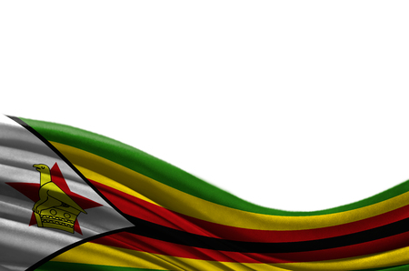 Grunge colorful flag Zimbabwe with copyspace for your text or images,isolated on white background. Close up, fluttering downwind. Stock Photo