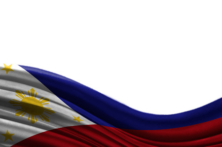 politic: Grunge colorful flag Philippines with copyspace for your text or images,isolated on white background. Close up, fluttering downwind.