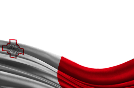 Grunge colorful flag malta with copyspace for your text or images,isolated on white background. Close up, fluttering downwind. Stock Photo