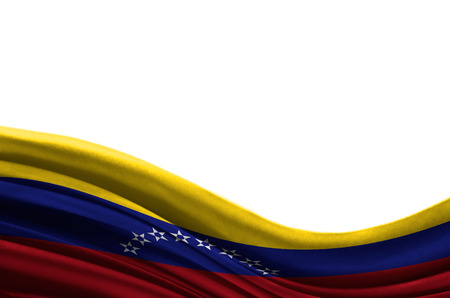 Grunge colorful flag Venezuela with copyspace for your text or images,isolated on white background. Close up, fluttering downwind.