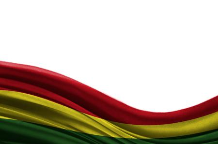 Bandera colorida de Grunge Bolivia con el copyspace para su texto o imágenes, aislado en el fondo blanco. De cerca, revoloteando a favor del viento.
