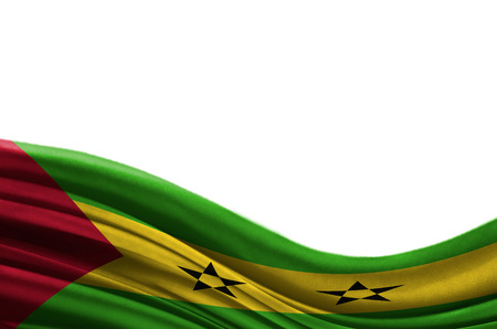 Grunge colorful flag Sao Tome and Principe with copyspace for your text or images,isolated on white background. Close up, fluttering downwind.