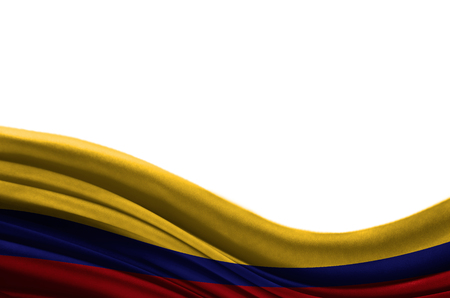 Grunge colorful flag Colombia with copyspace for your text or images,isolated on white background. Close up, fluttering downwind.