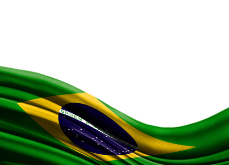 Grunge colorful flag Brazil with copyspace for your text or images,isolated on white background. Close up, fluttering downwind. Stock Photo