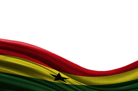 Grunge colorful flag Ghana with copyspace for your text or images,isolated on white background. Close up, fluttering downwind.
