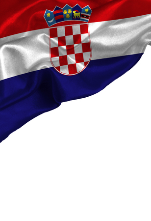 bandera croacia: Grunge colorful flag Croatia with copyspace for your text or images,isolated on white background. Close up, fluttering downwind.