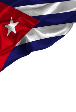Bandera colorida Cuba de Grunge con el copyspace para su texto o imágenes, aislado en el fondo blanco. De cerca, revoloteando a favor del viento.